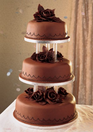 Wedding Cake Recipe.Chocolate Roses Wedding Cake
