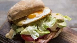 BLT with avocado, fried egg and HP mayonnaise.