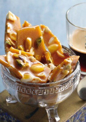 Coffee and nut brittle.