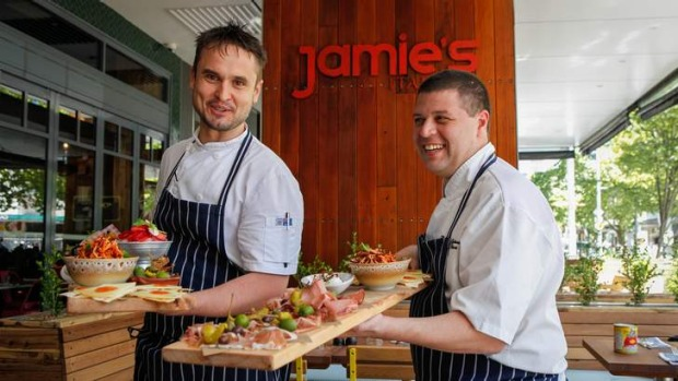 David Clarke, executive chef of  Jamie's Italian Australia and Marcos Georgiou, international executive chef of Jamie's ...