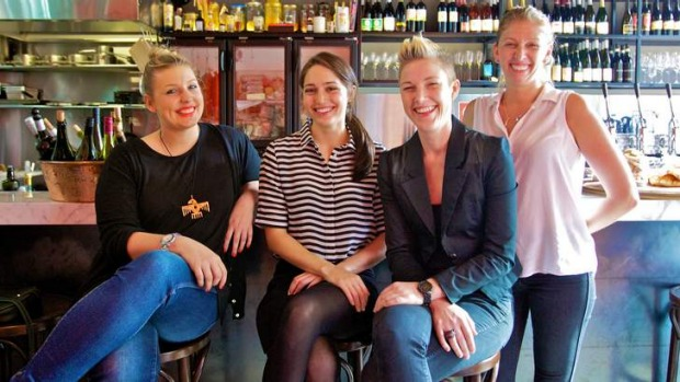 Successful sommeliers: Samantha Payne of China Lane, Caitlyn Rees of The Wine Library,  Rebecca Lines of Bar H and Pip ...