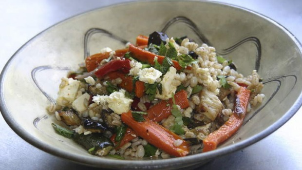 Kate McKay's Farro and roasted vegetable salad.