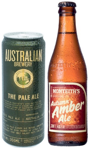 The Australian Brewery Pale Ale, Monteith's Autumn Amber Ale.