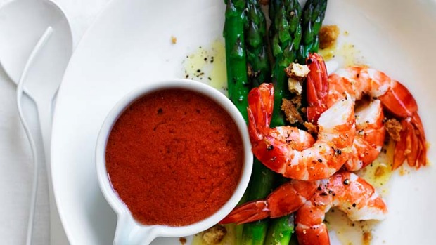 Perfect produce ... Prawns and asparagus with gazpacho.