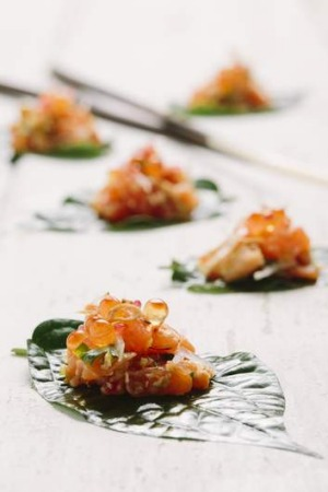 Salmon betel leaf canapes