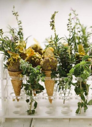 A quacking good dish... Chicken liver parfait cones.