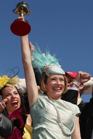 Party time: Winning trainer Gai Waterhouse.
