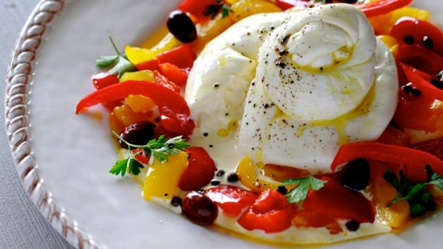 Cheese-lovers delight: Italian burrata with peppers, olive oil and capers.