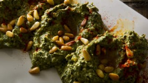 Spinach, yoghurt and pine nut dip.