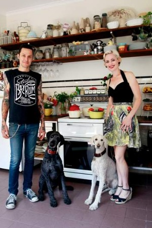 Elvis Abrahanowicz and Sarah Doyle of Porteno with their poodles Buddy and Marcel.