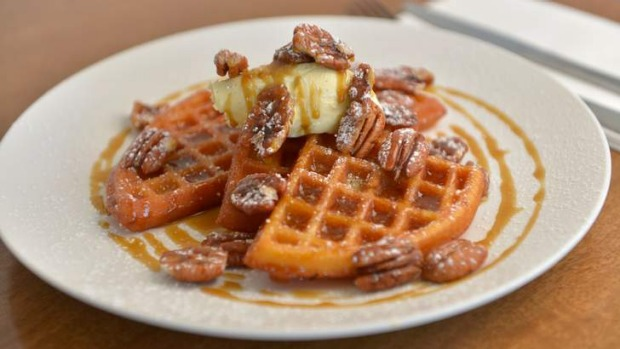 Butterscotch waffles with vanilla mascarpone and toasted pecans.