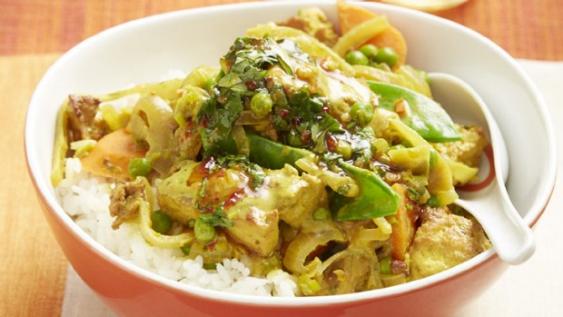 Vegan recipes: Thai-style yellow curry with coriander dressing (from Veganissimo! by Leigh Drew).