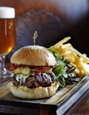 Mega-meaty: The burger at the East Village Hotel, Balmain East.