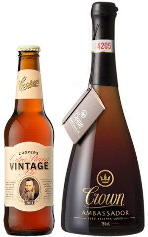 Quality ... This year's Coopers Extra Strong Vintage Ale and Crown Ambassador Reserve Lager.
