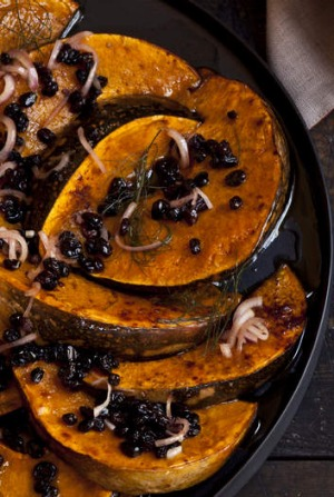 Jap pumpkin with cinnamon and currants.