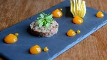 The beef tartare with cooked yolk puree.