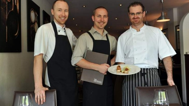 Devoted ... The Artisan's co-owners David Black, left, and Sam McGeechan, with chef Josh Hinves.