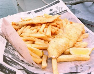 There's no need for fussy etiquette when you take your date for fish and chips by the sea.