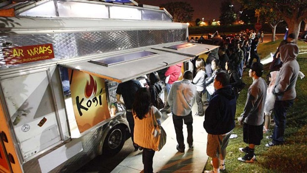 Viral eatery: Customers queue for food at Kogi, a Korean barbecue-inspired taco truck, in Torrance, California.