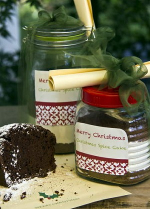 Christmas spice cake in a jar.
