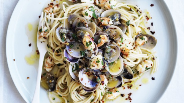 Match made in heaven: pasta and seafood.