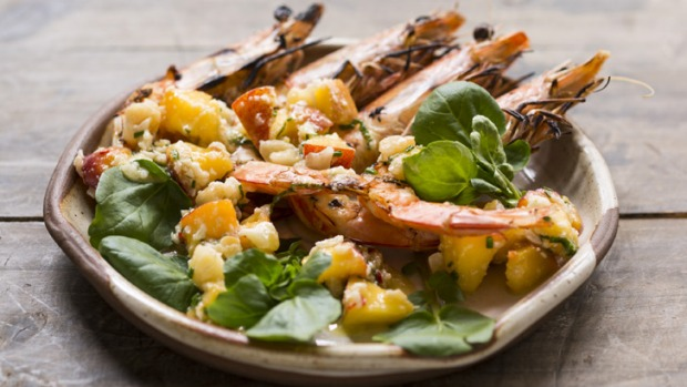 Grilled prawns with macadamia, lime and peach.