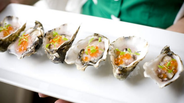 oysters with salmon roe, Luke Mangan, 'what I cook when...'  PIC BY MARK CHEW, TAMM