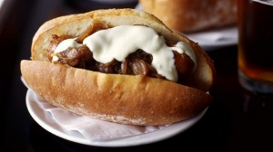 Sausages with onion confit and aioli.