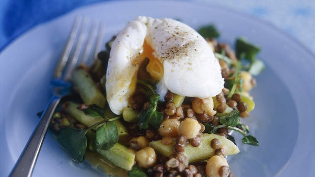 Asparagus and lentil salad with poached eggs.