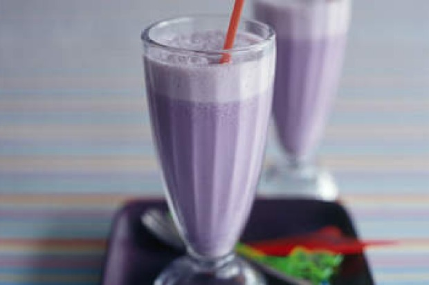 Frozen berries add flavour (and a pop of colour) to a traditional vanilla shake. <a ...