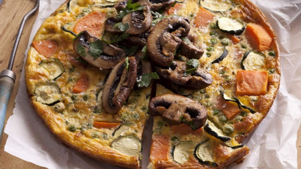 Sweet potato frittata with roasted mushrooms.