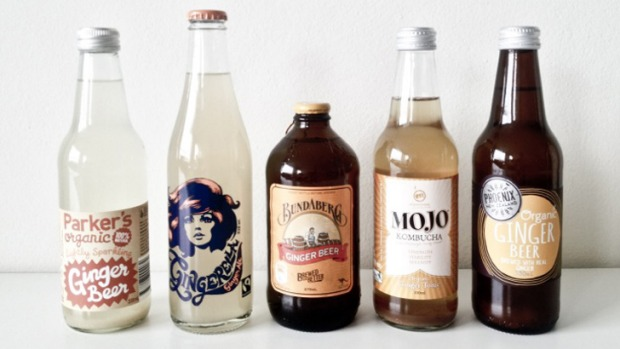 From left: Parker's organic ginger beer, Gingerella ginger ale, Bundaberg ginger beer, Mojo Kombucha organic ginger ...