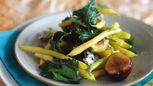 Butter bean salad with figs and blue cheese.