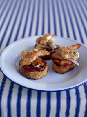 Prawn, peach and balsamic bruschetta