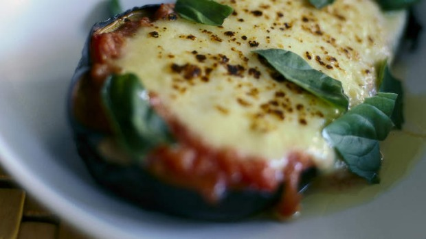 Baked eggplant with tomato, basil and mozzarella Recipe Good Food