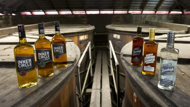 Beenleigh and Inner Circle rum varieties in the distillery's barrel room.