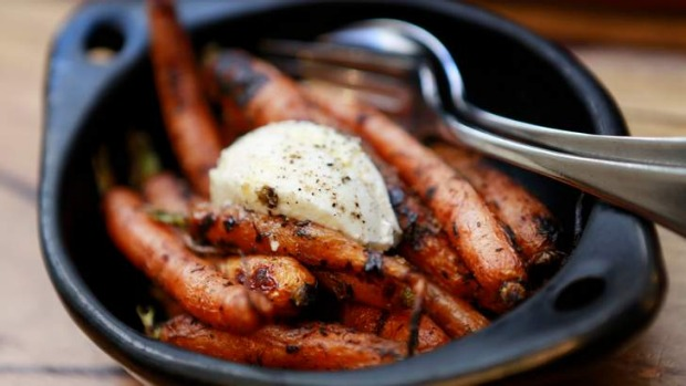 San Talmo's burnt carrots with thyme and goat's curd.