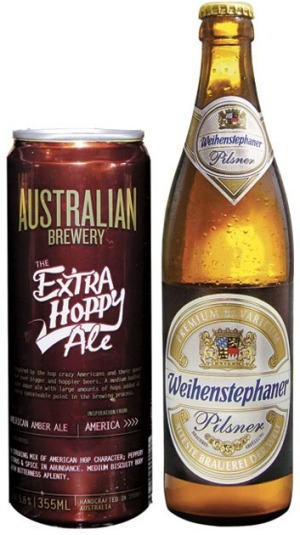 Australian Brewery Extra Hoppy Ale and Weihenstephaner Pilsner.