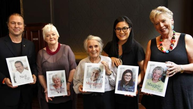 Legendary: Neil Perry, Stephanie Alexander, Margaret Fulton, Kylie Kwong and Maggie Beer will feature on a new set of stamps.