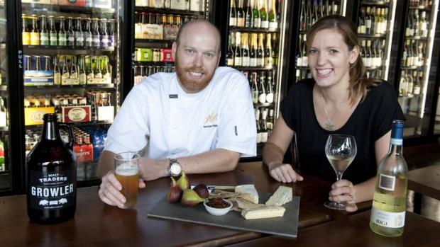 Chef George Clegg and sommelier Lucy George inside Malt Traders.