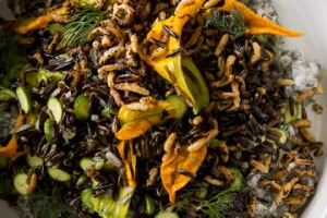 Zucchini flower, wild rice, lentil and yoghurt salad.