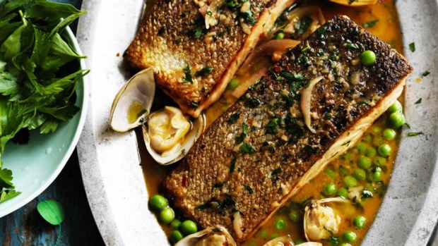 Summer splendour: Pan-fried salmon with clam sauce is a fiery surprise.