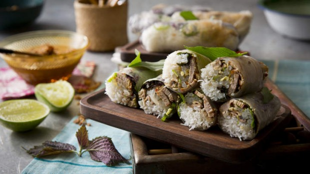 Not as tricky as you might think: Roast duck, pickled mushroom and perilla leaf rice-paper rolls.