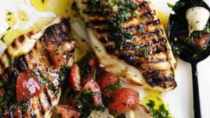Barbecued chicken breast with sauce vierge and potato puree.
