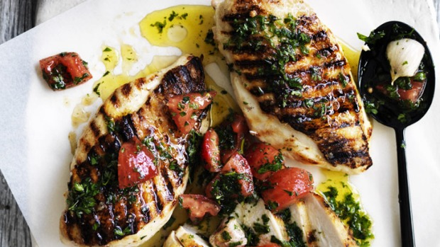 Twilight delight: Barbecued chicken breast with sauce vierge and potato puree.