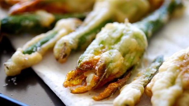Zucchini flowers with mozzarella and anchovy.