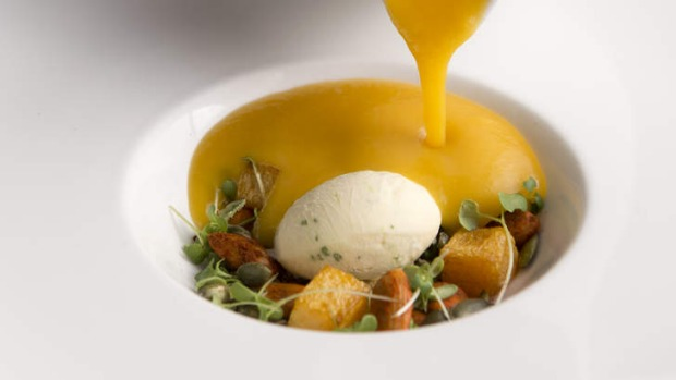 A butternut veloute is poured over sour cream and chive ice-cream.