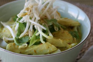 Spicy chicken laksa with rice noodles.