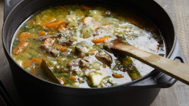 Hearty: Lamb shank and barley soup.