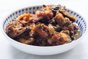 This spiced eggplant salad is wonderful on a warm day.